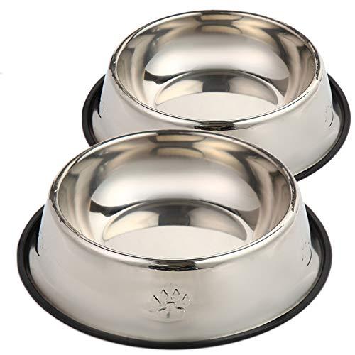 ZAH Fressnapf Hund, Futternapf Hund, Wassernapf für Hunde. 2er Set aus Edelstahl mit rutschfesten Gummiring, Hunde Napf Hund, Hundenapf Grosse Hunde