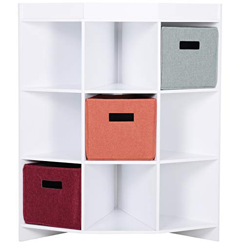 HOMCOM Eckregal, Aufbewahrungsregal, Standregal, 3 Schubladen, Platzsparend, MDF, Weiß, 57 x 57 x 95 cm