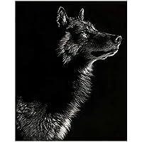 LIUYUEKAI 黒と白のオオカミの写真キャンバス絵画動物の壁アートポスターは、リビングルームの家の装飾のための抽象的な写真を印刷します-40x60cmフレームなし