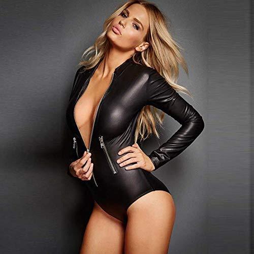 Kostüme für Erwachsene Bekleidung & Schuhe für Modepuppen Mode Leder Lackleder Sexy Dessous Damen Langarm Zip Slim Triangle Bodysuit Schwarz S