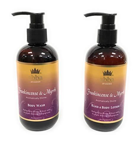 Set of 8oz Frankincense & Myrrh Body Wash and Hand & Body Lotion