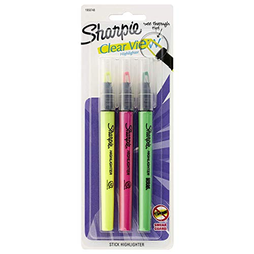 Sharpie Clear View Highlighter Stick, Assorted, 3-Pack