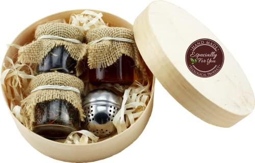 Net4Client Cesta de Regalo Con té y Miel Juego de Conservas Naturales de Regalo Té de Regalo Miel Un Regalo en un Empaque Hermoso y Ecológico
