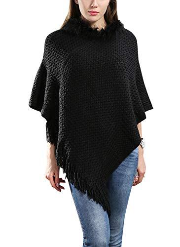 FEOYA - Mujer Poncho de Moda Ganchillo Talla Grande para Invierno Otoño Chaqueta de Puncho Capa de Chal Grueso Negro