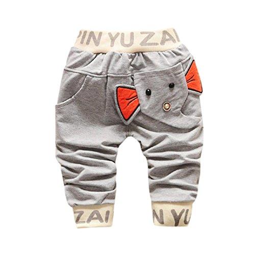 Hirolan Baby Strampler Kinderkleidung Mode Säugling Kleinkind Jungen Karikatur Elefant Drucken Hose Beiläufig Outfits 1T-4T Kinder Kleider (80cm, Grau)