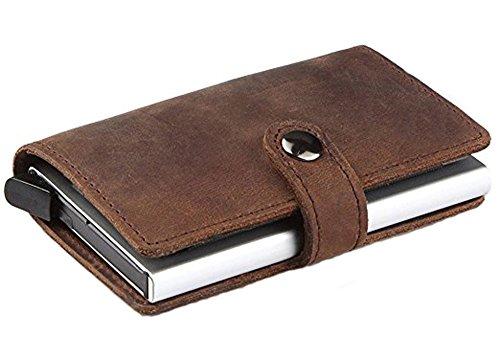 HONB Echtes Leder Smart Brieftasche, Smart Wallet, Kreditkartenetui (Braun)