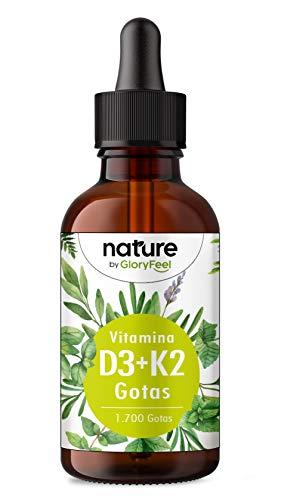 Vitamina D3 + K2 MK-7 en gotas - 5.000 U.I. por 5 gotas - 50ml (1700 Gotas) - Alta dosificación y Alta Bioactivdad con aceite MCT - Premium: K2VITAL de Kappa 99,7% All Trans