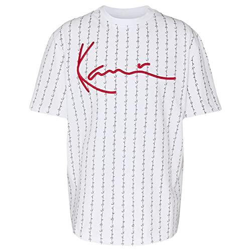 Karl Kani Herren T-Shirt Signature Logo Pinstripe White (M)