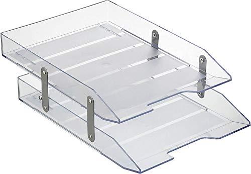 Acrimet Bandeja Articulada Portadocumentos de 2 Niveles para cartas A4 (Color Cristal Transparente)