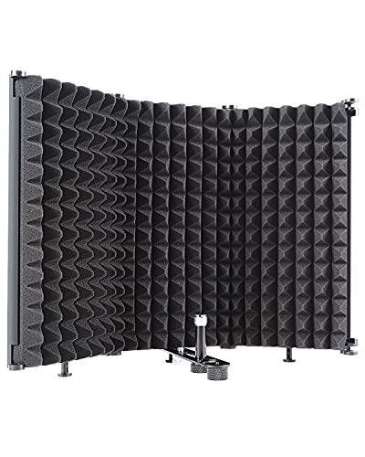 Protector de aislamiento de micrófono, reflector de espuma absorbente de sonido para cualquier estudio de equipo de grabación de micrófono de condensador, negro