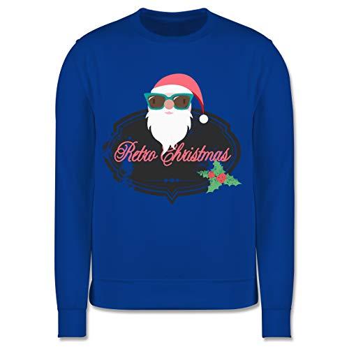 Shirtracer Weihnachten Kind - Retro Christmas Weihnachstmann - 116 (5/6 Jahre) - Royalblau - Geschenk - JH030K - Kinder Pullover