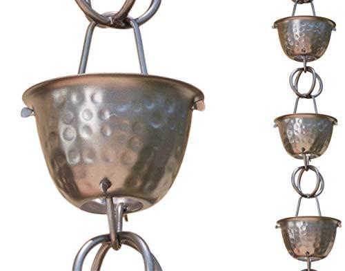 Monarch Regenkette 50584 Aluminium Zinn Bronze gehämmert Cup Regenkette, 2,6 m