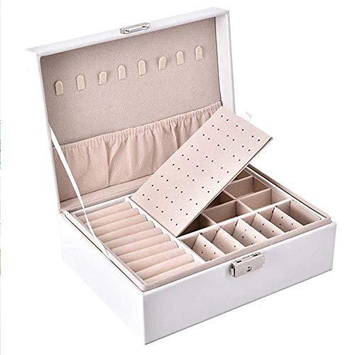 QWSNED Caja de joyería,Caja de almacenamiento de joyería de cuero PU,Caja de embalaje portátil de doble capa,Caja de almacenamiento de joyería de gran capacidad,Caja de joyería de las