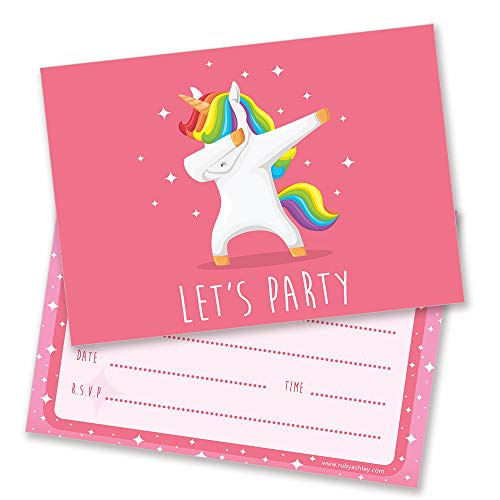Dabbing Unicorn Let's Party Invites . Pack of 10 with enevelopes.
