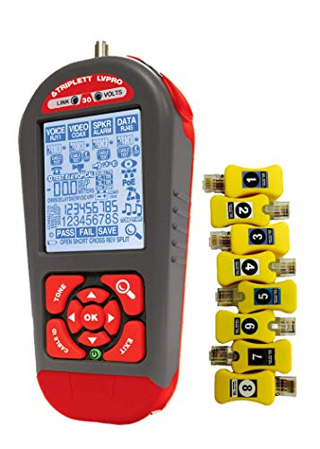 Triplett LVRPO30SR Network Cable Tester/Verifier with 12 Tester Apps and 8 RJ45 Smart Remotes - COAX, CAT5/5e/6/6a/7, Shielded/Unshielded