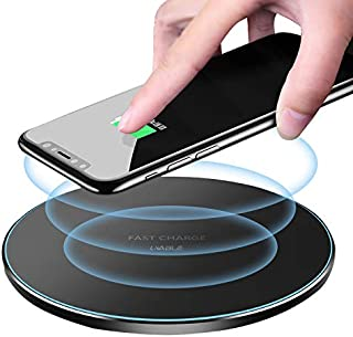 Fast Wireless Charger Station Pad Qi-Certified 10W Max Fast Wireless Charging Pad Compatible with iPhone 11/11 Pro/11 Pro Max/XS MAX/XR/XS/X/8, Samsung Galaxy Note 10/S10/S9/S8