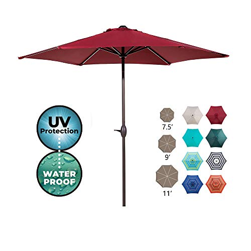 Abba Patio 9ft Patio Umbrella Outdoor Umbrella Patio Market Table Umbrella with Push Button Tilt and Crank for Garden, Lawn, Deck, Backyard& Pool, Red