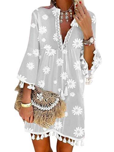 Onsoyours Damen Kleider Strand Elegant Casual A-Linie Kleid Quaste Spitze Langarm Sommerkleider Boho V-Ausschnitt Quaste Tunika Mini Kleider Vintage Minikleid Strandkleid 1 Grau L