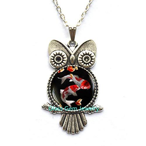 Halskette mit Koi-Fisch-Eule, japanischer Koi-Fisch, japanischer Kunst-Anhänger, Koi-Fisch, asiatische Kunst, Eulen-Halskette, Q0093
