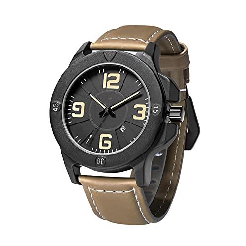 QHG Reloj de Pulsera de Cuarzo de Cuero Genuino de la Moda de los Hombres a Prueba de Agua con Calendario de Fecha a Prueba de arañazos (Color : A)