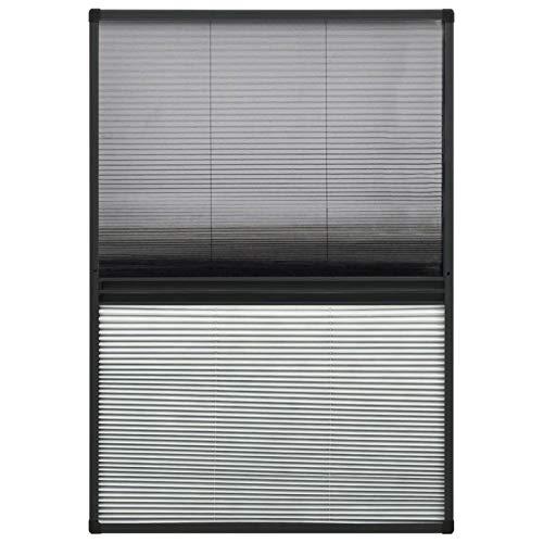 Tidyard Insektenschutz Plissee für Fenster Fliegengitter Dachfenster Mückenschutz Sonnenschutz Sichtschutz Aluminium mit Jalousie Anthrazit & Schwarz 110 x 160 cm