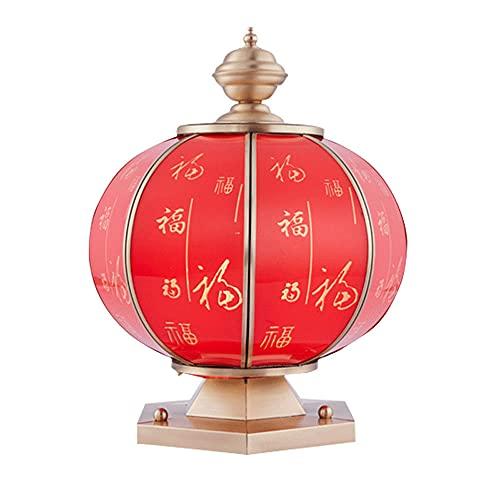 WISHVYQ Bendición de la lámpara del Pilar de tierraLámpara de Columna de Cobre Rojo Lámpara de Valla Luces Exteriores de Poste de Puerta Productos de iluminación Exterior