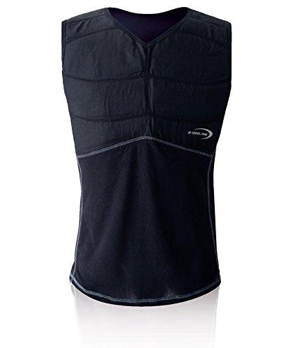 E.COOLINE Powercool SX3 KühlShirt Gr. XL - kühlendes Shirt/Kühlshirt, Kühlfunktionskleidung, schwarz mit Nierenschutz (Schwarz, 106-114 cm Brustumfang) - Klimaanlage zum Anziehen
