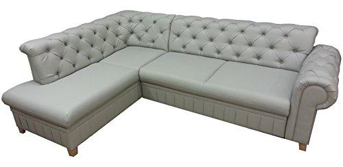 MEUBLO sofá de Esquina Convertibles 3/4Plaza Piel sintética Chesterfield Beige, Beige, Canapé d'angle Gauche
