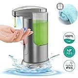 Boperzi Soap Dispenser Automatic for Kitchen Touchless Auto Hand Soap Dispenser Infrared Motion Sensor Adjustable Volume Battery Operated Liquid Dispenser with Waterproof Base, 13.5OZ/400ML