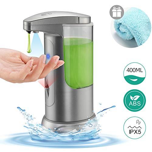Boperzi Soap Dispenser Automatic Kitchen Touchless Auto Hand Soap Dispenser Infrared Motion Sensor Adjustable Volume Battery Operated Liquid Dispenser, 13.5OZ/400ML