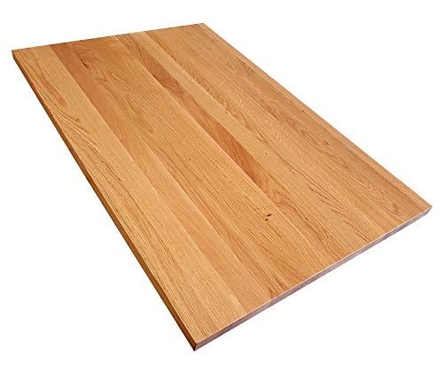 Tischplatte Holz massiv Eiche 25mm geölt/unbehandelt Esstisch Couchtisch (Holz unbehandelt, 100 x 80)