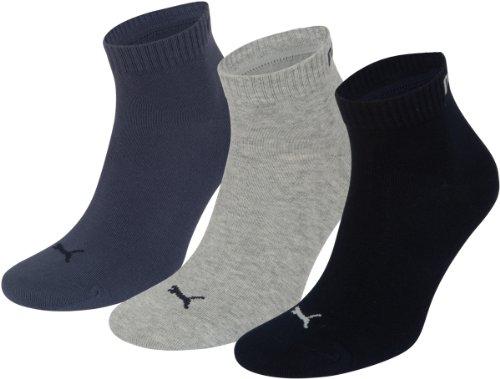 PUMA Unisex Quarters Socken Sportsocken 6er Pack (navy-grey-blue / navy-grey-blue, 35-38)