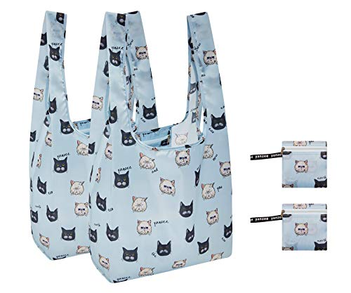 Yanzee Reusable Grocery Shopping Bags Cats 2-Pack with Zipper Pouch, Foldable Washable with Kitties, Cat Lovers Gifts for Women, Packable Grocery Tote, (Cats Icons)