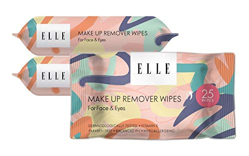 Elle Makeup Remover Wipes - Hypoallergenic Facial Cleansing Wipes for Face and Eyes - Mascara Removing Cleansing Cloths - 3pk, 75 Total Wipes