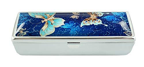 LCTCKP Y op maat gemaakte modieuze glazen lippenstift hoesje met spiegel lippenstift frame cosmetische case sieradendoos 8.7X2.9X3 CM Vlinder
