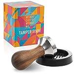 NOUTEN® Premium Espresso Tamper Set 51mm - Kaffeestampfer aus Edelstahl mit einem elegant geformten Echtholzgriff – Espresso Stempel für den vollmundigen Genuss - Passende Tampermatte inklusive…
