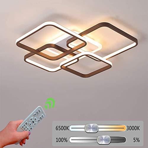 66W LED Deckenleuchte Dimmbar Modern Deckenlampe, Weiß und braun, Metall und Acryl, Creative Design Deckenleuchte LED für Wohnzimmer Schlafzimmer Arbeitszimmer Büro Decke Lampe (60 * 60 * 8.5cm)