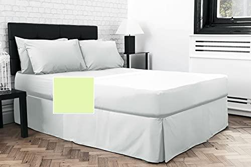 Sábana bajera doble plisada de 1,8 m x 1,8 m x 1,3 m sobre colchón (verde, 38 cm de profundidad)