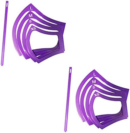 ORNOOU 8 Pieces Plastic Face Cover DIY Template Purple Sewing Ruler Template 4 Sizes Reusable product image