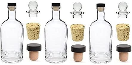 Nakpunar 3 pcs 12 oz Heavy Base Glass Liquor Bottles with T-Top Synthetic Cork with Bonus Glass Bottle Stopper and Regular Bottle Cork Made in the USA (3, 12 oz (375 ml))