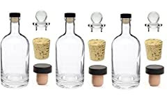 Nakpunar Brand 3 Heavy Base Glass Liquor Bottles in 12 oz (375 ml) with 3 T-Bar Stoppers, 3 Glass Stoppers and 3 Natural Cork Stoppers. Comes with 3 closure: Synthetic T-Bar Cork, Natural Cork and Glass Bottle Stopper. Perfect bottles for your liquor...