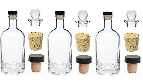 Nakpunar 3 pcs 12 oz Heavy Base Glass Liquor Bottles with T-Top Synthetic Cork with Bonus Glass Bottle Stopper and Regular Bottle Cork Made in the USA (3, 12 oz (375 ml))
