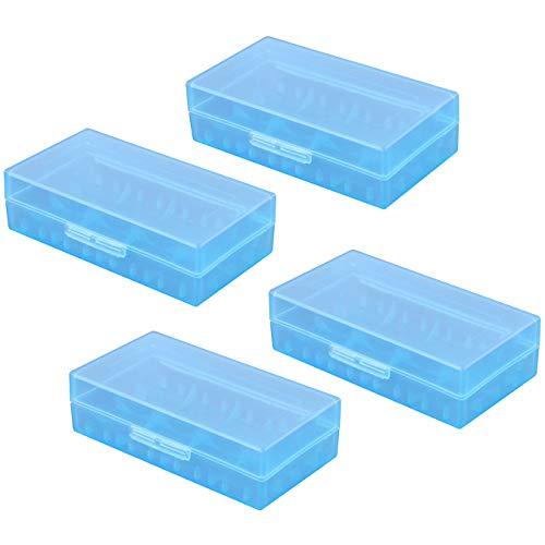 aufodara 4pcs Batterie Scatola di Immagazzinaggio di Plastica Trasparente Organizzatore Viaggio Portatili Custodia Protettiva per Pile ricaricabile 18650/18350 / CR123A / 16340 (Blu)
