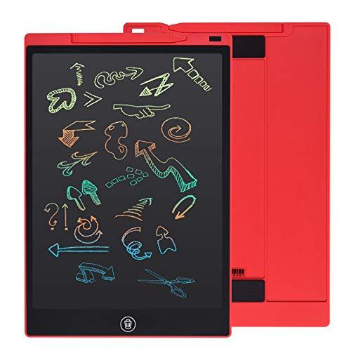 EooCoo Tableta de Escritura LCD Color 12 Pulgadas, con Botón de Bloqueo, Portátil Tableta de Dibujo para Garabatos, Cálculos, Notas - Rojo