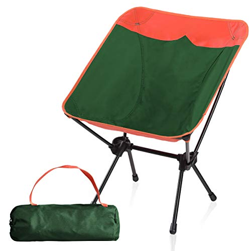 Camping World Portable Compact Ultralight Camping Folding Chairs with Aluminum Frame for Outdoor Camping HikingOrange/Green