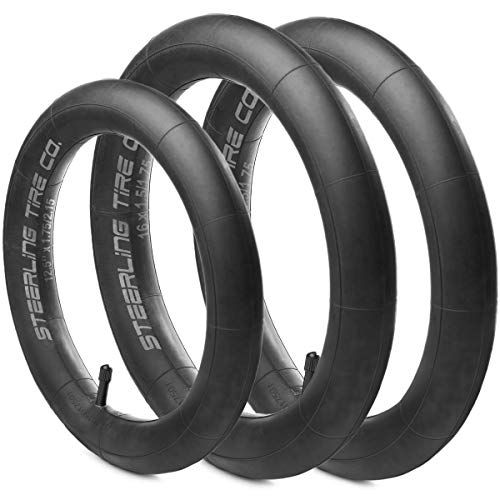 [3-Pack] Two 16'' x 1.5/1.75 Rear AND One 12.5'' x 1.75/2.15 Front Heavy Duty Thorn Resistant Inner Tire Tube For All BOB Revolution Strollers & Stroller Strides - The Smart BOB Stroller Tire Tube Set