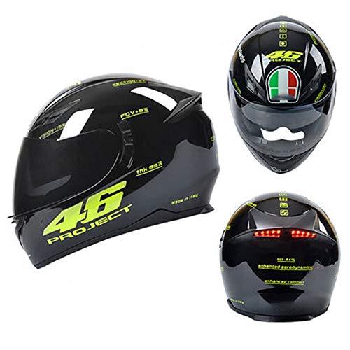 Helmets Casco Integral Casco Moto Modular Casco De Motocicleta con Luz Trasera Inteligente LED + Visera Doble Antiniebla, Certificación ECE (54-59cm)