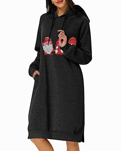 Kidsform Sweat de Noël Femme Sweat à Capuche Grande Taille Sweatshirt Robe Pull Motif Arbre Père de Noel Manche Longue avec Poches Décontracté D-Noir M