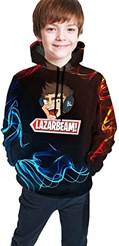 Rogerds Custom Youth Teen Lazarbeam YouTube Logo Winter Hoodie Sweatershirt Long Sleeve Pullover Hoodies for Teens Boys Girls Clothes