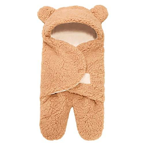 Saco de Dormir para bebé, Forro Polar Esponjoso Ultra Suave, Manta de recepción para recién Nacidos (Caqui 0-1 Meses 3M)